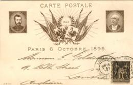1897-France Francia Intero Postale Emesso In Occasione Della Venuta Dello Zar Nicola II A Parigi Affr. 10c.Sage Diretto - Postmark Collection (Covers)