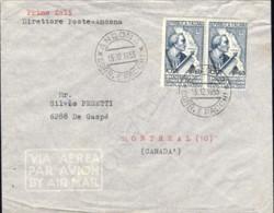 1955-cat.Sassone Euro 160, Per Via Aerea Diretta In Canada Affr. Coppia L.60 Vespucci - 6. 1946-.. República