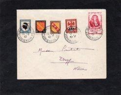 LSC 1947 - Cachets JOURNEE AERONAUTIQUE - COSNE NIEVRE Sur YT 755 à 758 & YT 779 - Au Dos Cachet DONZY (Nièvre) - 1921-1960: Modern Period