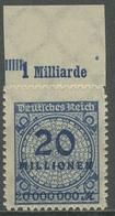 Deutsches Reich 1923 Korbdeckel Platten-Oberrand 319 BP OR B Postfrisch - Deutschland