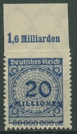 Deutsches Reich 1923 Korbdeckel Platten-Oberrand 319 BP OR A Postfrisch - Deutschland
