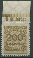 Deutsches Reich 1923 Korbdeckel Platten-Oberrand 323 BP OR B Postfrisch - Deutschland