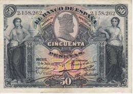 BILLETE DE ESPAÑA CLASICO DE 50 PTAS DEL AÑO 1907 EN CALIDAD EBC (XF) (BANKNOTE)  RARO Y DIFICIL - [ 1] …-1931 : Premiers Billets (Banco De España)