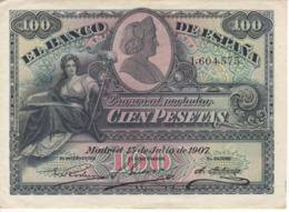 BILLETE DE ESPAÑA CLASICO DE 100 PTAS DEL AÑO 1907 EN CALIDAD EBC (XF) (BANKNOTE)  RARO Y DIFICIL - [ 1] …-1931 : Premiers Billets (Banco De España)