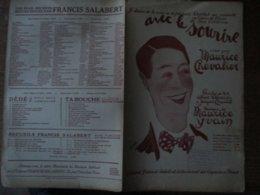 AVEC LE SOURIRE CREE PAR MAURICE CHEVALIER PAROLES DE ALBERT WILLEMETZ ET JACQUES CHARLES MUSIQUE DE MAURICE YVAIN - Partituren