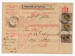 1929 YUGOSLAVIA, SLOVENIA, KOPRIVNIK PRI KOČEVJU TO ŠTIP, PARCEL CARD, FOOD PARCEL - 1919-1929 Kingdom Of Serbs, Croats And Slovenes