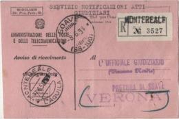 Annullo Montereale (L'Aquila) 07.06.1954 E Soave (Verona) 08.06.1954 Su Cartolina Avviso Di Ricevimento - 6. 1946-.. Repubblica
