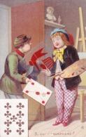Chromo 7cm Large X 11 Cm Haut - Représentant Facteur + Peintre N°9 Qui Me Surprend ? - Neuf De Tréfle - - Cartes Postales