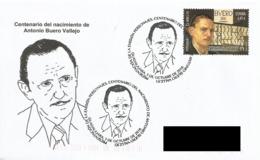 SPAIN. POSTMARK 100th ANNIV. WRITER ANTONIO BUERO VALLEJO. GUADALAJARA 2016 - España
