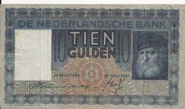 PAYS-BAS 10 GULDEN 1939 VF P 49 - [2] 1815-… : Regno Dei Paesi Bassi