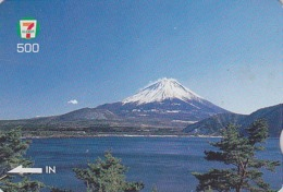 Carte Prépayée Japon Quo 7/11 - VOLCAN Montagne MONT FUJI - VULCAN Japan Prepaid Card - VULKAN Berg - 307 - Volcanes