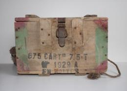 Caisse Vide En Bois Pour Cartouches Françaises De 7,5mm De 1954 - Armes Neutralisées