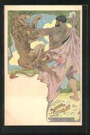 Künstler-AK Sign. Louis Lessieux: Pluton, Hercule, Gott Der Stärke Erschlägt Einen Löwen Im Kampf, Jugendstil - Künstlerkarten