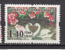 ##29, Turquie, Turkey, 2015, Cygne, Swan, Coeur, Heart, Amour, Love, Fleur, Flower - 1921-... Republiek