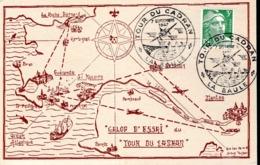 """CARTE FRANCE 1947 - """"LE TOUR DU CADRAN"""", LA BAULE, EPREUVE AERIENNE INTERNAT. D'ENDURANCE - - Aerei"""