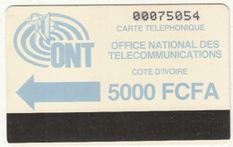 IVORY COAST - ONT Logo, First Issue 5000 FCFA, Very Large CN, Used - Côte D'Ivoire