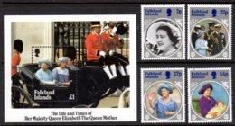 FALKLAND ISLANDS - 1985 LIFE & TIMES OF QUEEN ELIZABETH THE QUEEN MOTHER SET (4V) & MS FINE MNH ** SG 505-508, MS509 - Falkland Islands