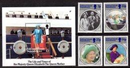 FALKLAND ISLAND DEPS - 1985 LIFE & TIMES OF QUEEN ELIZABETH THE QUEEN MOTHER SET (4V) & MS FINE MNH ** SG 129-132, MS133 - Falkland Islands