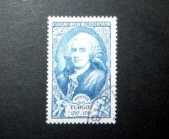 FRANCE 1949 N°858 OBL. (PERSONNAGES CÉLÈBRES DU XVIIIÈME SIÈCLE. TURGOT. 25F + 10F BLEU) - Frankreich