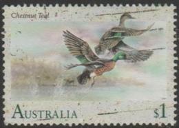 AUSTRALIA - USED 1991 $1.00 Water Birds - Chestnut Teal - Duck - 1990-99 Elizabeth II
