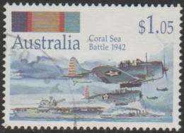 AUSTRALIA - USED 1992 $1.05 Australia At War - Coral Sea Bettle - Ships, Aircraft - 1990-99 Elizabeth II