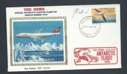 Australian Antarctic Territory 1978 Qantas Flight Silk Cacheted Cover Over Antarctica Ex Adelaide , Signed - FDC