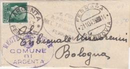 STORIA POSTALE REGNO-PIEGO - ARGENTA ( FERRARA) COMUNE DI ARGENTA  - VIAGGIATO PER BOLOGNA - 1900-44 Victor Emmanuel III