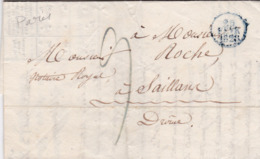 LAC De Paris (75) Pour Saillans (26) - 23 Février 1828 - CAD Rond Type Dateur 'a' Petit - Taxe Manuelle 9 - 1801-1848: Precursori XIX