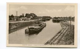 CPA  02 : CHAUNY    Canal Et Péniche  A  VOIR   !!!! - Chauny