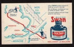 Buvard ENCRE SWAN - Fabriqué à Liverpool Mise En Bouteilles à Bruxelles - Cachet Stylo House Rue Du Fer Namur - 2 Scans - Papeterie