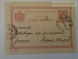 D161083  Romania Postal Stationery  -1900   UZU  Gara - Stuttgart - 1881-1918: Charles Ier