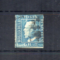 Italia- Regno Delle Due Sicilie - Sicilia - 1859 - Effige Ferdinando II° - 2 Grana - Azzurro - Usato - (FDC18509) - Sicilia