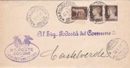 STORIA POSTALE REGNO -PIEGO - COMUNE DI CASALBUTTANO UNITI (CR) - LEVA - VIAGGIATO PER CASTELVERDE (CR) - 1900-44 Vittorio Emanuele III