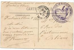 SEINE ET MARNE CARTE FONTAINEBLEAU  1915 CACHET VIOLET DEPOT DE MATERIEL DE FONTAINBLEAU L'OFFICIER GESTIONNAIRE - Postmark Collection (Covers)