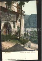 71555364 Hallstatt Salzkammergut Portal Der Katholischen Kirche Fassadenmalerei - Autriche