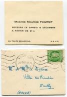 RC 14592 FRANCE 1947 - 2F MAZELIN SUR MIGNONETTE DE LYON RP / RHONE POUR ECULLY TB - Marcophilie (Lettres)