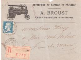 1f.50 Pasteur Sur Lettre Illustrée Recommandée De CHEVRY COSSIGNY Seine Et Marne En Tete A.BROUST BATTAGE - Poststempel (Briefe)