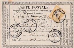 CP Affr Y&T 55 Obl CARIGNAN Du 9 JANV 75 Adressée à Pure - 1849-1876: Période Classique