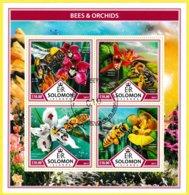 Bloc Feuillet Oblitéré De 4 Timbres-poste - Bees & Orchids Abeilles Et Orchidées - Îles Salomon 2017 - Salomon (Iles 1978-...)