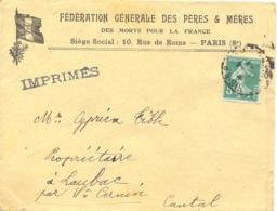 FÉDÉRATION GÉNÉRALE DES PÈRES & MÈRES DES MORTS POUR LA FRANCE PARIS (8e) - Postmark Collection (Covers)