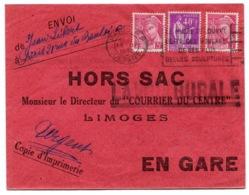 RC 14598 FRANCE 1939 MERCURE + PAIX SUR LETTRE HORS SAC DU COURRIER DU CENTRE DE PARIS POUR LIMOGES TB - Poststempel (Briefe)