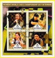 Bloc Feuillet Oblitéré De 4 Timbres-poste - Championnat Du Monde Féminin D'échec à Téhéran - Îles Salomon 2017 - Salomon (Iles 1978-...)