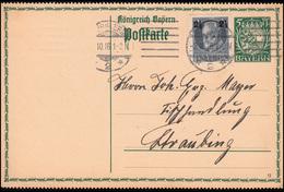 Bayern P 93I/02 Neues Wappen 5 Pf DV 15 + 111A NÜRNBERG 3.10.1916 Nach Straubing - Bayern