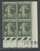 France N° 278 XX Type Semeuse : 2 C. Vert Foncé En Bloc De 4 Coin Daté Du 20 . 11 . 34 ; Ss Pt Blanc,  Sans Charnière,TB - 1930-1939