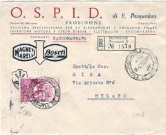 1960-II Guerra D'indipendenza L.110 Isolato Su Busta Raccomandata Con Intestazione Pubblicitaria OSPID Frosinone Magneti - 6. 1946-.. República