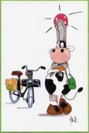 Vache Avec Coiffe Bigoudène Et Vélosolex ... (dessin De Yack) Sabots, Solex - Humour