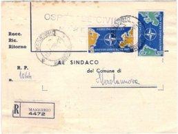 """1959-piego Raccomandato Affrancato Con S.2v.""""Anniversario Della Nato"""" - 6. 1946-.. Repubblica"""