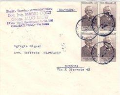 1957-busta Espresso Affrancata Quartina L.25 Giosue' Carducci - 6. 1946-.. Repubblica