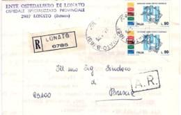 1975-piego Ospedaliero Raccomandato Affrancato Coppia L.90 Centenario Upu - 6. 1946-.. República