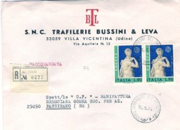 1974-busta Raccomandata Con Intestazione Commerciale Affrancata Coppia L.90 Europa - 6. 1946-.. Repubblica